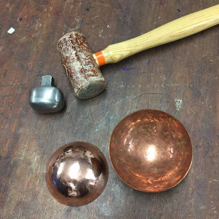 copper bowl and tools