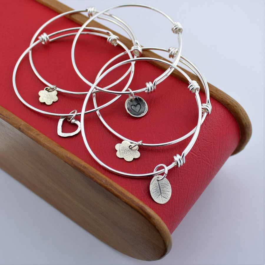 Silver Charm Bangles